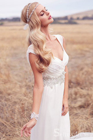 A-line V neck Ivory Wedding Dresses Rustic Wedding Dresses SEW022
