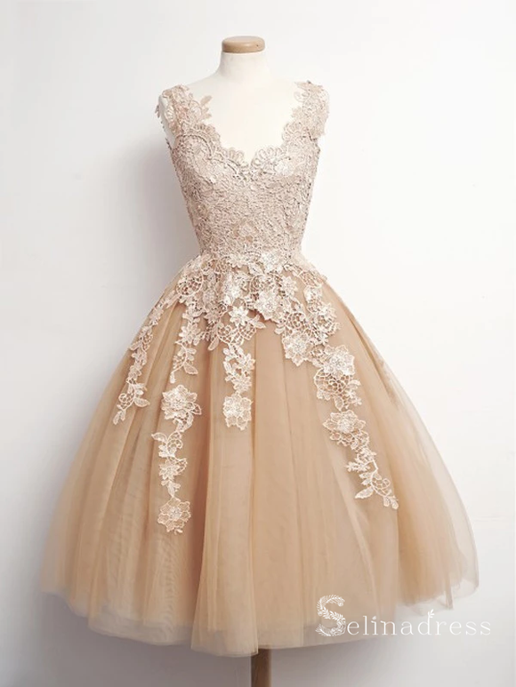 A-line V-Neck Knee Length Champagne Tulle Homecoming Dress Short Prom Dresses #MHL055|Selinadress
