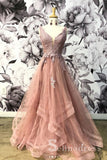 A-line V neck Lace Prom Dresses Gorgeous Long Formal Dresses Evening Gowns SED075