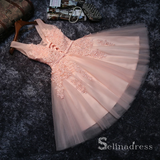 A-line V neck Pink Homecoming Dress Cute Juniors Short Prom Drsess MHL054|Selinadress