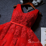A-line V neck Red Short Prom Dress Lace Applique Juniors Homecoming Dress MHL053|Selinadress