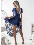 A-Line V-Neck Short Sleeves Blue Lace High Low Prom Dress Homecoming Dress MHL045|Selinadress