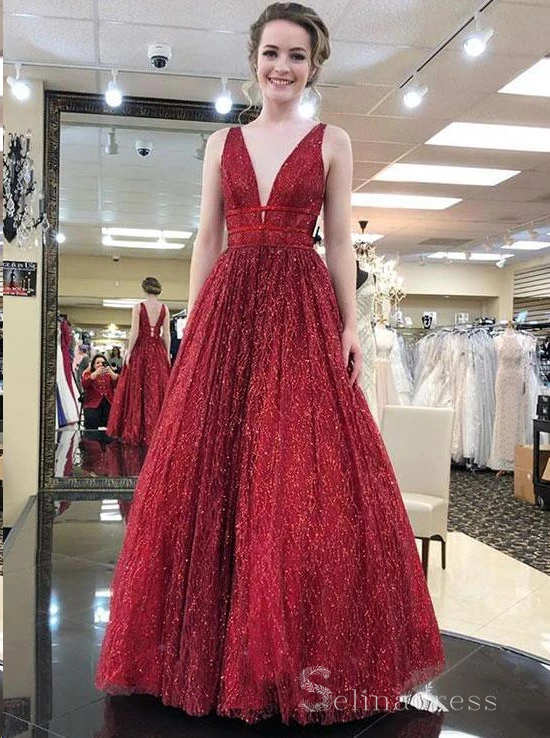 A-line V neck Sparkly Long Prom Dresses Open Back Charming  Prom Dress #SED185 | Selinadress