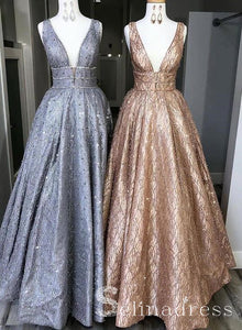 A-line V-neck Sparkly Long Prom Dresses With Beads Long Formal Evening Gowns SED132