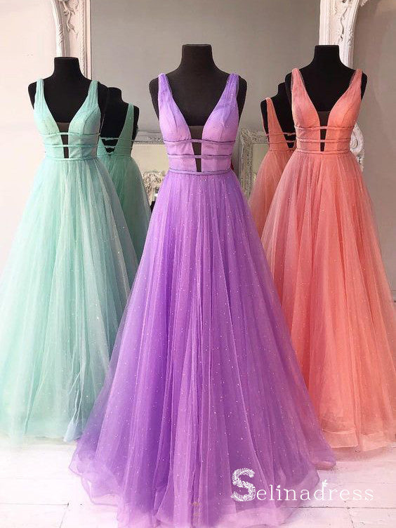 A-line V neck Sparkly Prom Dresses Long Elegant Formal Dress Evening Gowns SED021