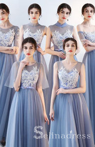 Affordable Blue Appliques Bridesmaid Dresses Princess Lace Bow Sash Long Backless Wedding Party Dresses BRK006|Selinadress