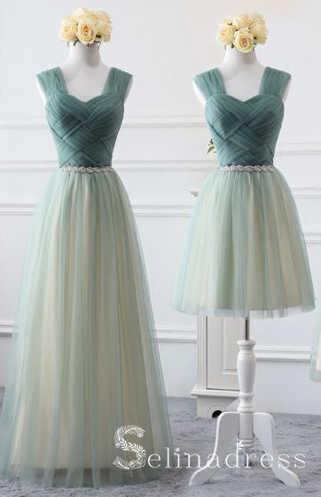 Affordable Green Sage Bridesmaid Dresses Cheap Princess Rhinestone Sash Wedding Party Dresses BRK013|Selinadress