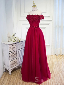 Beautiful Burgundy Long Prom Dresses Hand-Made Flower Prom Dress/Evening Dress #SED186 | Selinadress