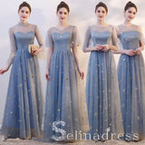 Beautiful Dusty Blue Star Sequins Bridesmaid Dresses A-Line Princess See-through Wedding Party Dresses BRK002|Selinadress