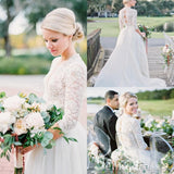Beautiful Long Sleeve Wedding Dresses V-neck Ivory Lace Romantic Bridal Gown SEW031|Selinadress