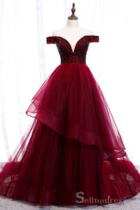 Beautiful Off-The-Shoulder Burgundy Evening Dresses Princess Beading Crystal Formal Dresses #SED206 | Selinadress