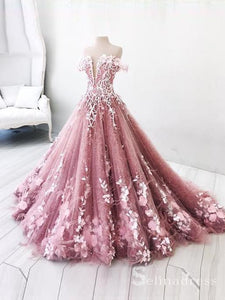 Beautiful Off-the-shoulder Pink Lace Long Prom Dress Gorgeous Floral Evening Gowns SED014