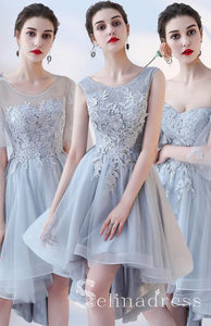 Beautiful Short Bridesmaid Dresses Lace Flower Backless Gray Wedding Party Dresses  BRK005|Selinadress