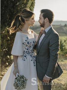Beautiful Wedding Dresses Half Sleeve Bateau Embroidery Romantic Bridal Gown SEW013|Selinadress