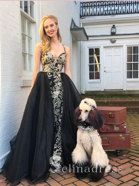 Black Gorgeous Prom Dresses Long Evening Dress With Applique Celebrity Formal Gowns SED145|Selinadress