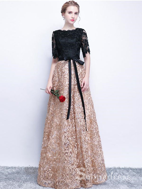 Black Long Prom Dresses A-line Half Sleeve Long Prom Dress Lace Evening Dress SED130