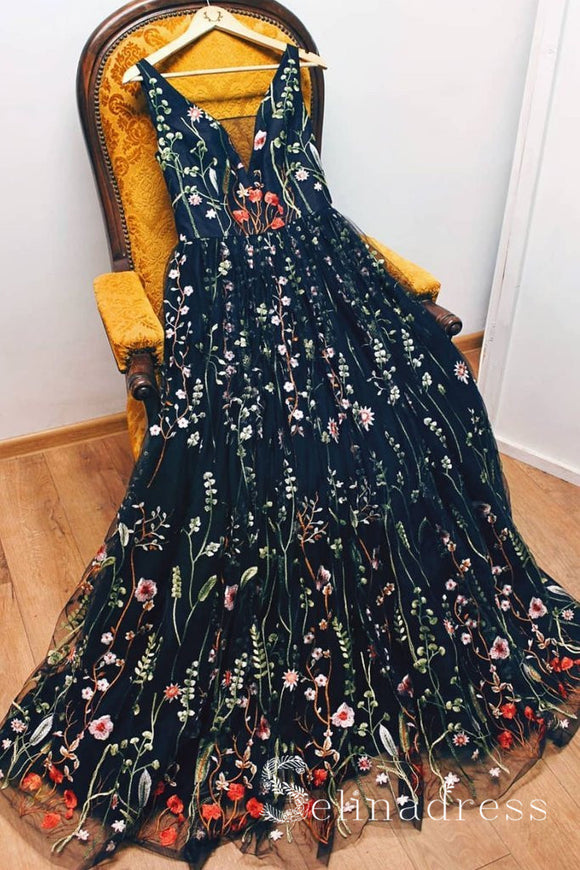 Black V neck Boho Long Prom Dresses With Floral Beautiful Formal Evening Gowns SED077|Selinadress
