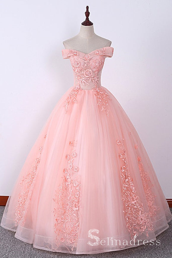 Blush Pink Long Prom Dresses Ball Gown Off-the-shoulder Lace Formal Evening Gowns SED119
