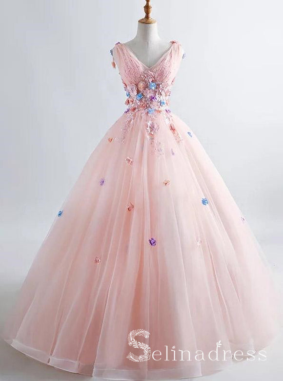 Blush Pink Princess Ball Gown 3D Floral Prom Dresses V-neck Boho Quinceanera Dress SED084
