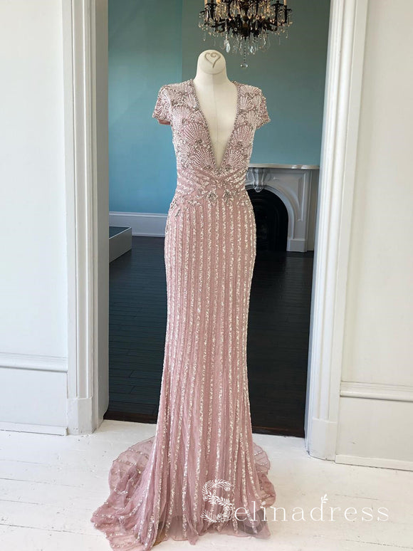 Blush Pink Sparkly Long Prom Dresses With Sleeve V neck Beaded Custom Evening Dress SED099