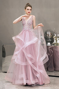 Blushing Pink Prom Dresses Floor-Length Long Cascading Ruffles Lace Formal Dresses #SED204 | Selinadress