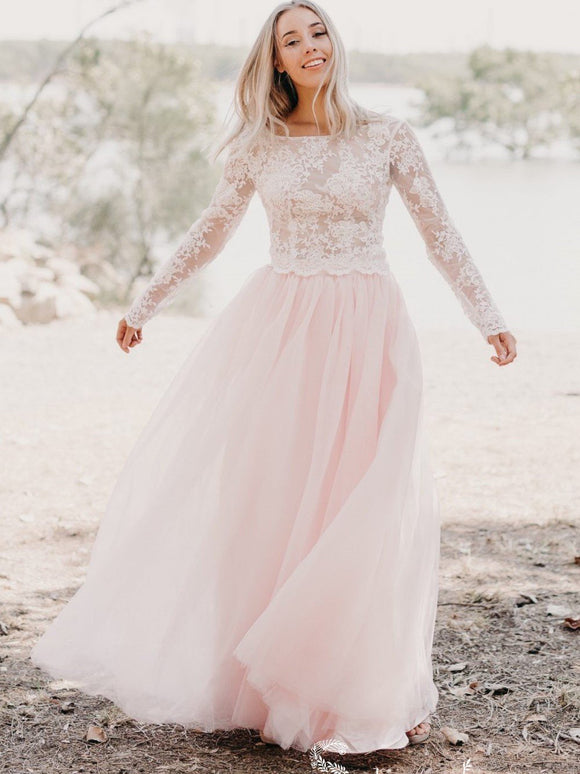 Blushing Pink Two Pieces Country Wedding Dresses Long Sleeve Lace Wedding Dress SEW054