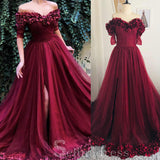 Burgundy A-line Off Shoulder Prom Dresses Custom Made Evening Gowns #SED209