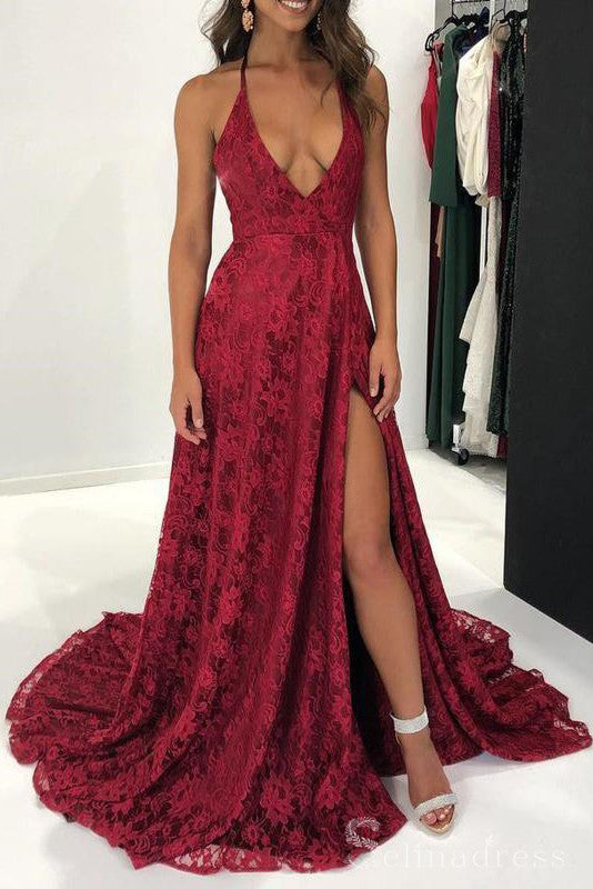 Burgundy Halter Rose Lace Long Prom Dress With Split Formal Evening Dresses #SED178|Selinadress