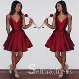 Burgundy Spaghetti Straps Homecoming Dresses Cheap Short Party Dresses MHL031