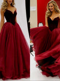 Burgundy Strapless Prom Dress Tulle Elegant Long Prom Dresses/Evening Dress  SED106