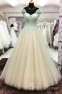 Champagne Ball Gown Quinceanera Mint Lace Cap Sleeve Senior Long Prom Dress Evening Gowns SED051|Selinadress