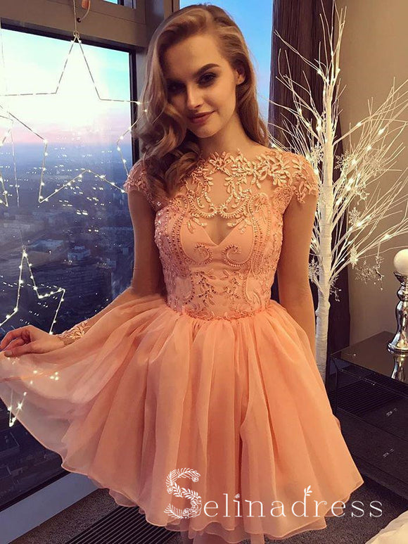 Charming A line Bateau Homecoming Dresses Long Sleeve Short Prom Dresses HML021|Selinadress