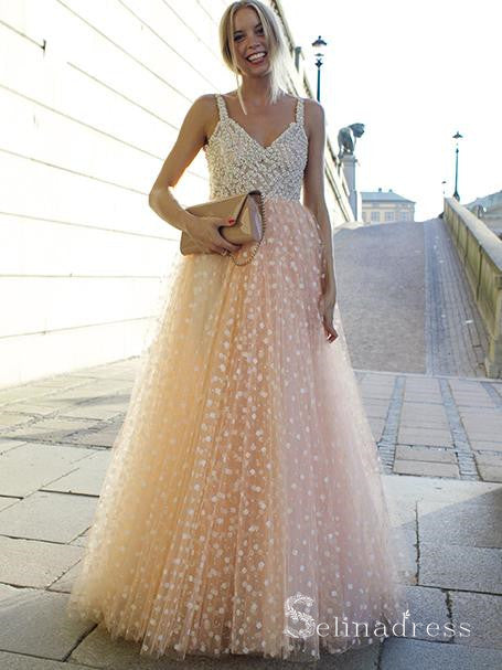Charming A-line Beaded Long Prom Dress Gorgeous Formal Dress Evening Gowns SED023|Selinadress