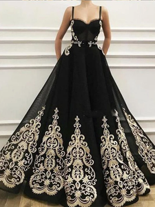 Charming A-Line Black Prom Dresses with Gold Appliques Prom Dress Evening Dress #SED195 | Selinadress