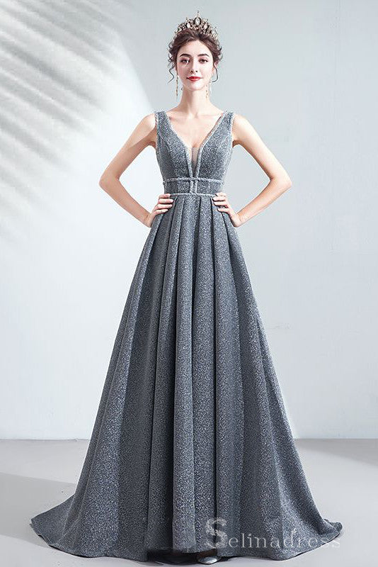 Charming A-Line V-Neck Silver Long Formal Dresses Sequins Princess Evening Dresses #SED201 | Selinadress