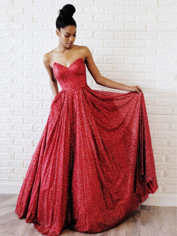 Charming Red Long Sweetheart Prom Dresses Floor-length Long Sparkly Prom Dress #SED190 | Selinadress
