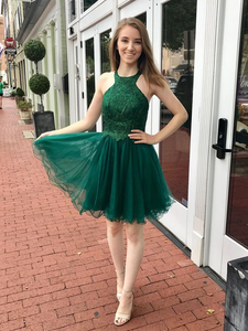 Chic A-Line Green Tulle Halter Short Homecoming Derss Backless #MHL082