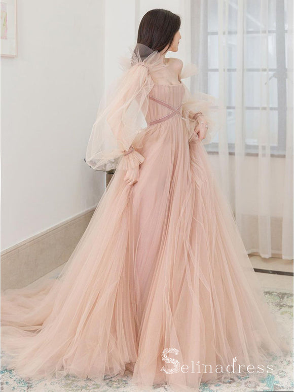 Chic A-line Long Sleeve Pink Long Prom Dresses Tulle Evening Formal Gowns CBD289|Selinadress