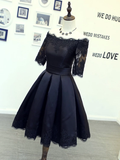 Chic A-line Off-the Shoulder Black Homecoming Dress Satin Short Prom Dress #MHL057|Selinadress