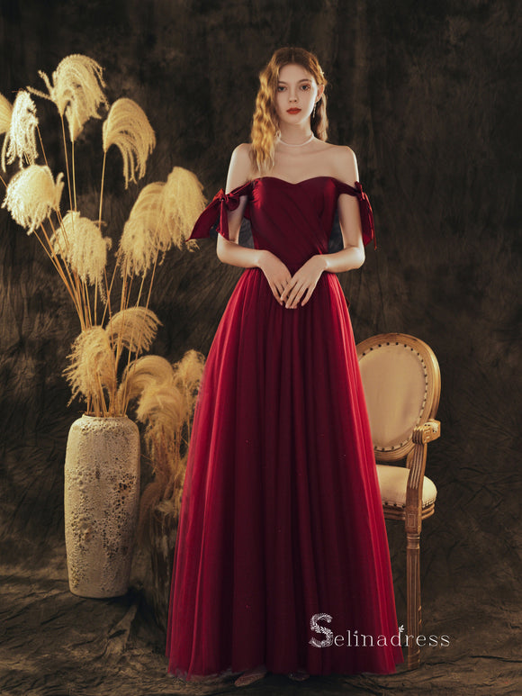 Chic A-line Off-the-shoulder Burgundy Long Prom Dresses Cheap Formal Gowns CBD112