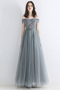 Chic A-Line Off-The-Shoulder Gray Green Evening Dresses Beautiful Princess Long Formal Dresses #SED202 | Selinadress
