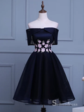 Chic A-line Off-the-shoulder Homecoming Dress Dark Navy Short Prom Dress MHL046|Selinadress