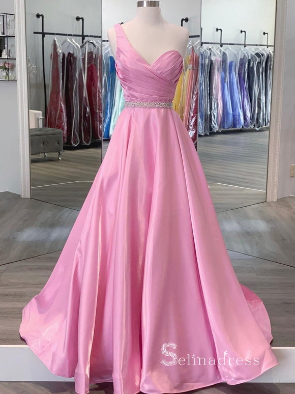 Chic A-line One Shoulder Pink Prom Dresses Cheap Long Evening Dress CBD037