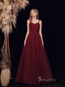 Chic A-line Spaghetti Straps Burgundy Long Prom Dresses Unique Formal Gowns CBD113