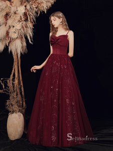 Chic A-line Spaghetti Straps Burgundy Long Prom Dresses With Bow Graduaciones Dress CBD110