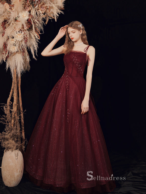 Chic A-line Spaghetti Straps Long Prom Dresses Cheap Burgundy Evening Dress CBD106
