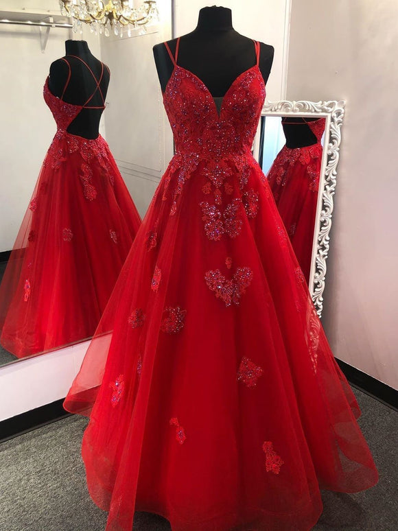 Chic A-line Spaghetti Straps Red Prom Dresses Long Beaded Formal Evening Gowns CBD022