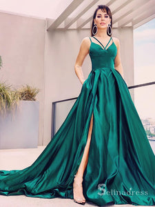 Chic A-line Spaghetti Straps Simple Long Prom Dresses Hunter Evening Dress CBD075