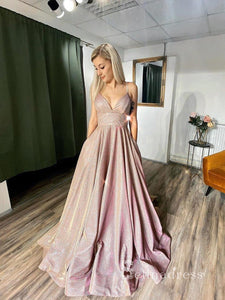 Chic A-line Spaghetti Straps Sparkly Long Prom Dresses Pink Evening Dress CBD063