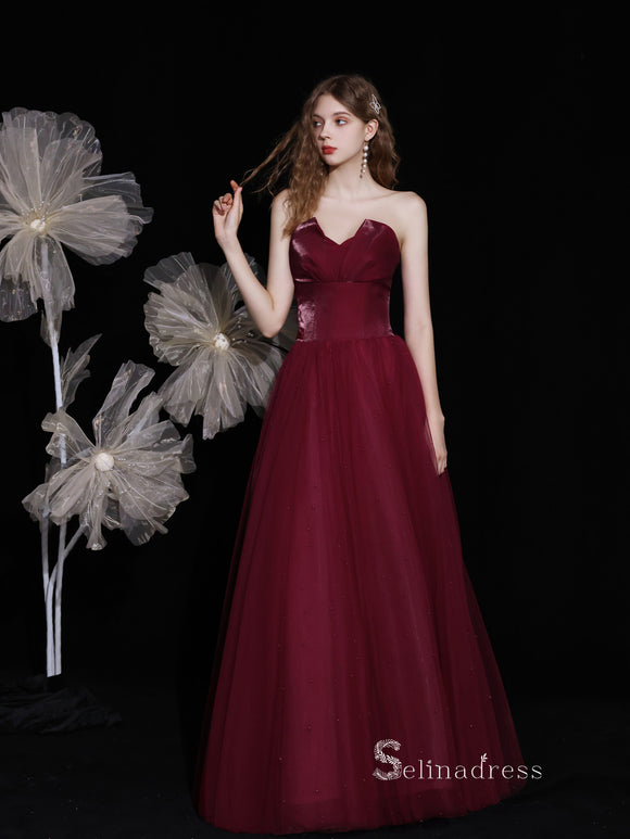 Chic A-line Straples Burgundy Unique Long Prom Dresses Detachable shawl Formal Gowns CBD119